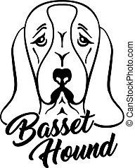 Basset hound head silhouette with hand-written word