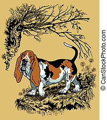 basset hound illustration - hunting dog in forest, basset...