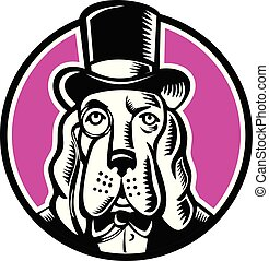 Basset Hound Monocle Top Hat - Mascot icon illustration of...