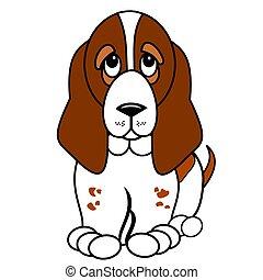 Basset Hound Puppy Graphics - Cute Basset hound pup vector ...