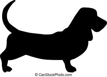 Basset hound silhouette black - Basset hound silhouette real...