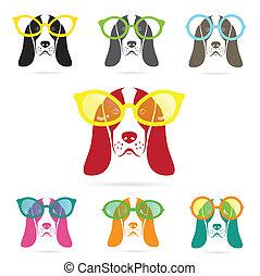 basset, llevando, perro, vector, imágenes, sabueso, anteojos