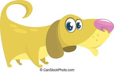 basset, mignon, cartoon., isolé, illustration, chien, vecteur, fond, blanc, chien de chasse