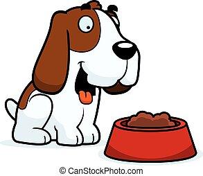 basset, nourriture, chien de chasse, dessin animé