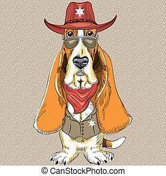 basset, rigolote, chien, vecteur, hipster, chien de chasse, dessin animé
