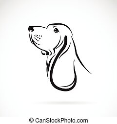 basset, tête, image, vecteur, fond, blanc, chien de chasse