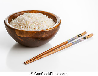 bassin bois, à, riz, et, baguettes chinoises