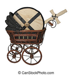 Bassinet with Shield and Sword