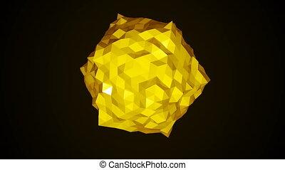 basso, poly, sfera, rotating., astratto, 3d, render, liscio, seamless, cappio, animazione