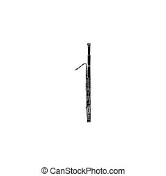 Bassoon icon in black simple style isolated on white background