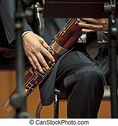 bassoonist, auf, concert