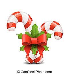 bastón, dulce, arco, acebo, adornado, navidad