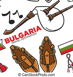 Bast shoes and gaida Bulgarian national instrument and...