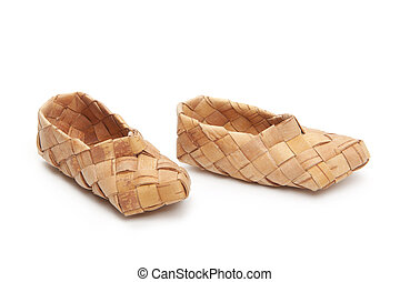 bast shoes, isolated - bast, ancient russian shoes, isolated...