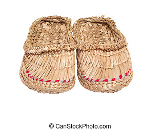 Pair of bast shoes it is isolated on a white background