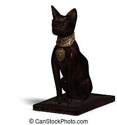 bast statue - rendering of the egyp cat statue bast with ...