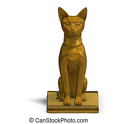 bast statue - rendering of the egyp cat statue bast with...