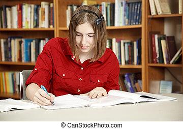 bastante, adolescente, en, biblioteca