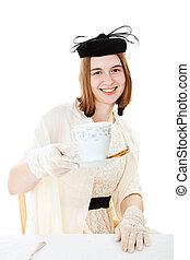 bastante, adolescente, sirve, té