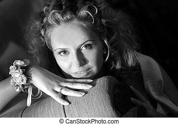 bastante, adulto joven, retrato de mujer