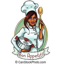 bastante, chef, con, olla, y, spoon.