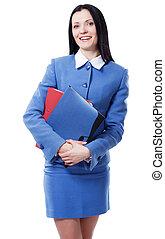 bastante, elegante, mujer de negocios