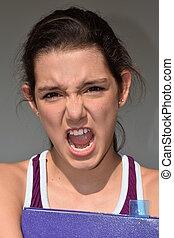 bastante, estudiante femenino, enojado