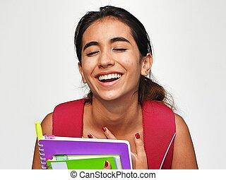 bastante, estudiante femenino, reír