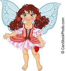 bastante, fairyl, niña, con, magick, varita