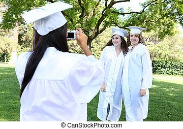 bastante, joven, graduación, mujeres