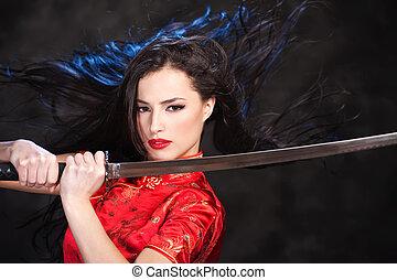 bastante, kimono, mujer, en acción, con, katana/sword