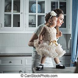 bastante, mamá, tenencia, ella, encantador, niño