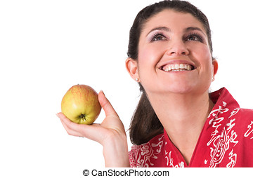 bastante, morena, manzana, tenencia