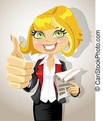 bastante, mujer de negocios, actuación, aprobar