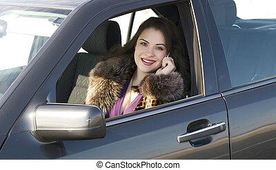 bastante, mujer, en el coche