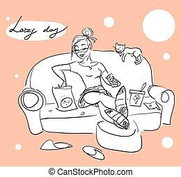 bastante, mujer, en, un, sofá