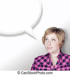 bastante, mujer joven, pensamiento, diálogo, burbuja