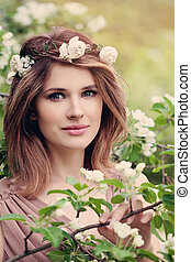 bastante, mujer, modelo, con, flores