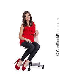 bastante, mujer se sentar, en, un, silla