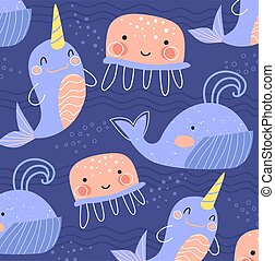 bastante, narwhals, azulejos, fondo azul, o, esparcido, medusa, rosa, impresión, cuadrado, baleen, vida, ballenas, patrón, formato, mar