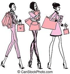 bastante, niñas, con, bolsas de compras