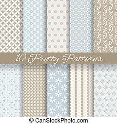 bastante, pastel, vector, seamless, patrones, (tiling, con,...