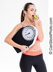 bastante, pesar, tenencia, manzana que come, deportista, escala, contenido