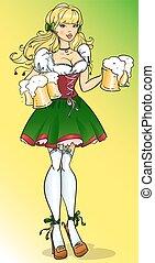 bastante, sujetar, niña, con, cerveza, jarras