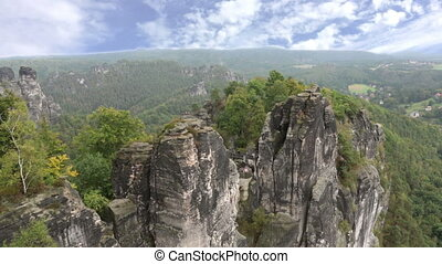 Bastei rock formation in Saxon Switzerland National Park,...