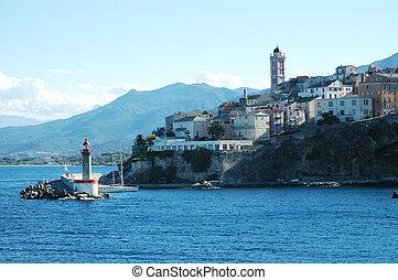 Bastia, the port and lighthouse - Bastia, view of the port, ...