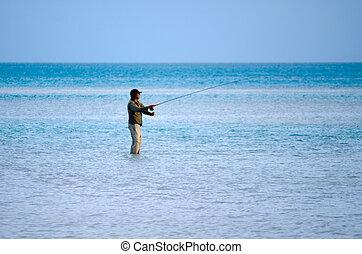 bastidor, para, bonefish, en, aitutaki, laguna, islas de cocinero