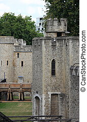 Bastion of the stone fortress of the Tower of London, UK