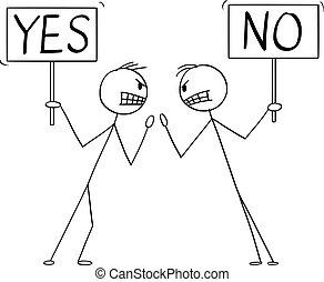 baston, aucunes mains, vecteur, ou, fâché, signes, oui ...
