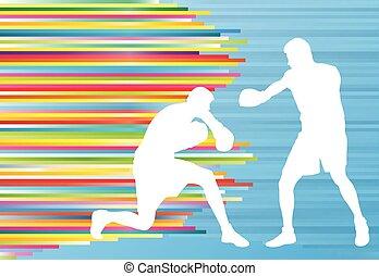 baston, boxeur, vecteur, professionnel, allumette, homme